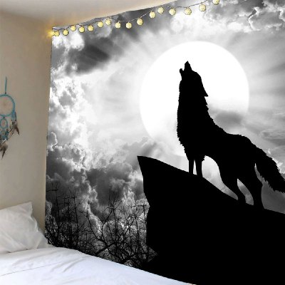 Moonlight Howling Wolf Printed Wall Decor Tapestry