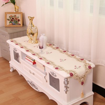 Satin Jacquard Embroidered Home Decor Table Runner