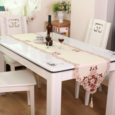 Embroidered Satin Home Decor Floral Table Runner
