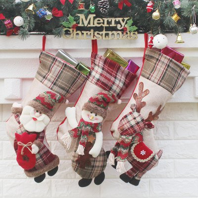 3Pcs Candy Gift Bags Hanging Decorations Christmas Socks