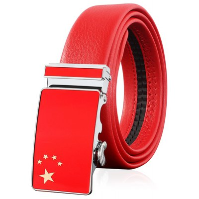 Flag of China Embellished Automatic Buckle Wide Belt