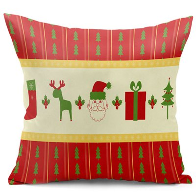 Christmas Elements Double Side Printed Decorative Pillowcase