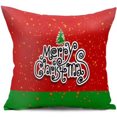 Merry Christmas Letter Double Side Printed Decorative Pillow Case
