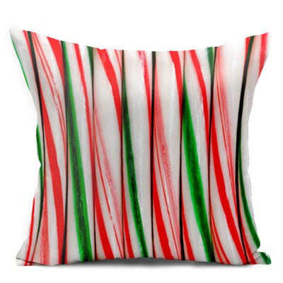 Candy Cane Double Side Printed Decorative Throw Pillowcase