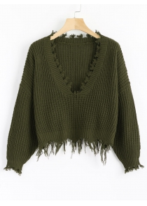 Ripped V Neck Loose Sweater