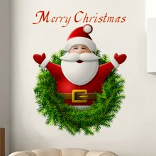 Christmas Santa Wreath Pattern Wall Sticker For Living Room