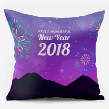 2018 New Year Fireworks Double Sided Printing Pillowcase