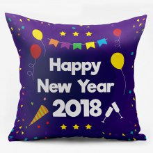 Happy New Year 2018 Double Sided Printed Pillowcase