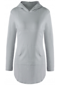 Stylish Hooded Long Sleeve Solid Color Pocket Design T-Shirt For Women