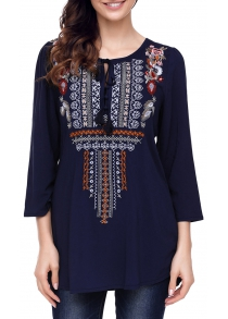 Tassel Ethnic Embroidered Tunic Blouse