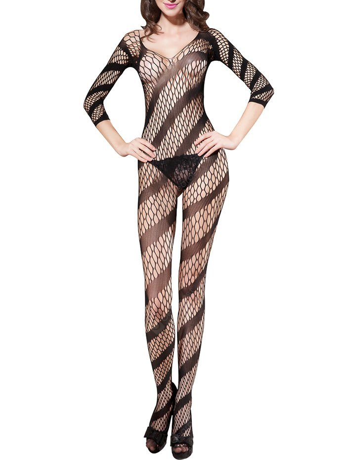 Backless Fishnet Bodystockings with Sleeves