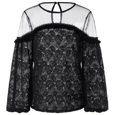 Sheer Mesh Panel Lace Blouse