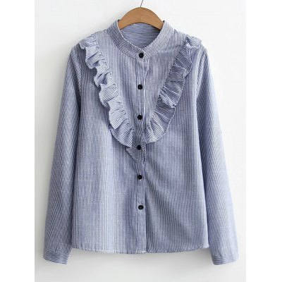 Ruffles Stripes Button Down Shirt