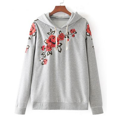 Floral Embroidered Drawstring Loose Hoodie