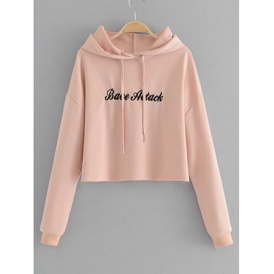 Letter Embroidered Cropped Hoodie