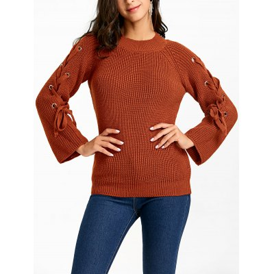 Mock Neck Lace Up Sleeve Sweater