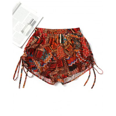 Side Cinched Printed Beach Shorts