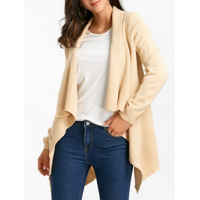 Knitted Shawl Collar Asymmetric Cardigan