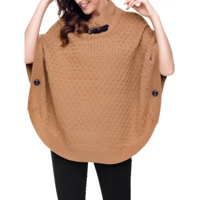Buckle Strap Knitted Poncho Sweater