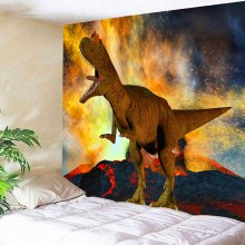 Wall Hanging Volcanic Eruption and Dinosaur Print Tapestry