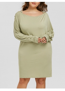 Plus Size Batwing Sleeve Criss Cross T-shirt