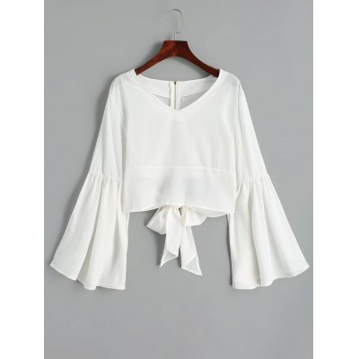 Back Zippered Bowknot Bell Sleeve Blouse