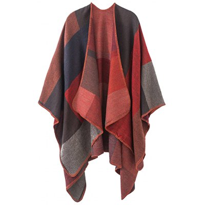 Plus Size Color Block Collarless Poncho