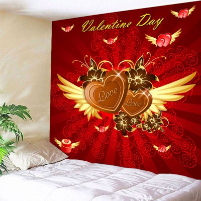 Valentine's Day Hearts with Wings Print Wall Tapestry