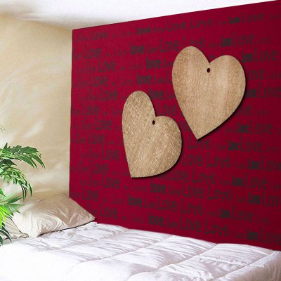 Wall Hanging Two Wooden Hearts Love Letter Print Tapestry