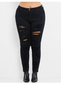 High Rise Plus Size Ripped Jeans