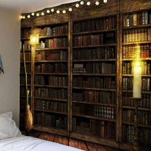 Bookcase Print Waterproof Wall Hanging Tapestry
