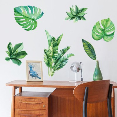 Tropical Leaves Print Wall Stickers for Bedrooms
