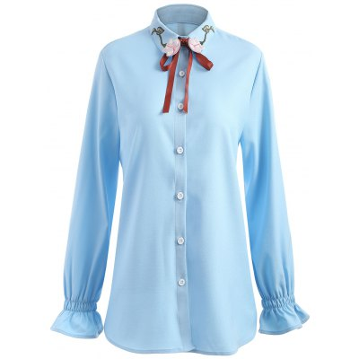 Plus Size Floral Embroidered Elastic Cuffs Shirt