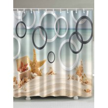 Beach Starfish Conch Circles Waterproof Shower Curtain