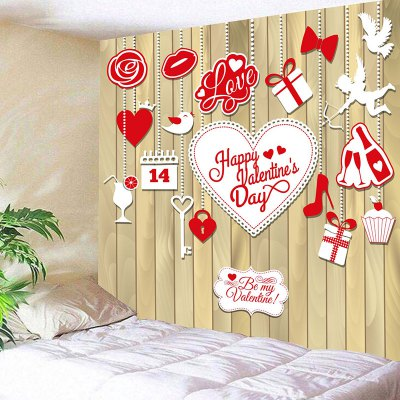 Valentine's Day Elements Print Wall Tapestry