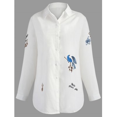 Plus Size Long Sleeve Embroidery Shirt
