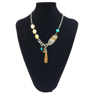 Geometric Beaded Tassel Linked Chain Pendant Necklace