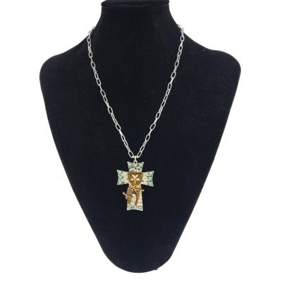Star Carved Cross Faux Turquoise Pendant Necklace