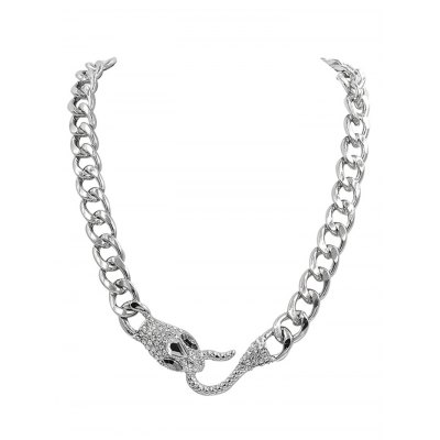 Alloy Exaggerated Snake Head Link Chain Pendant Necklace