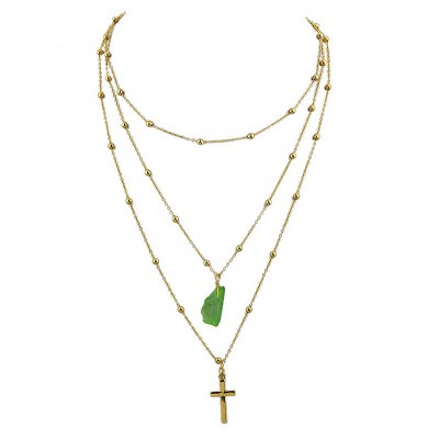 Multi-layered Cross Faux Jade Pendant Necklace