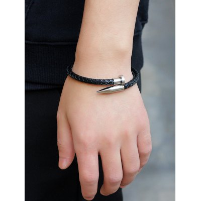 Faux Leather Alloy Nail Braided Bracelet