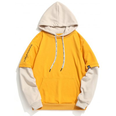 Letter Embroidered Color Block Hoodie