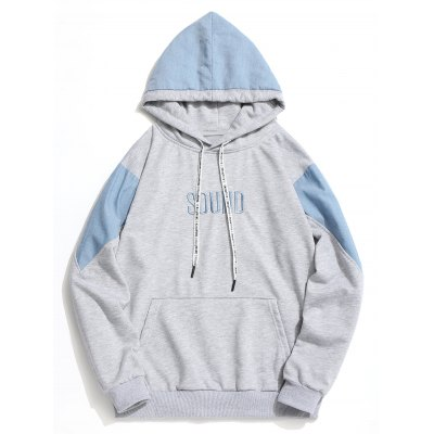 Contrast Color Letter Embroidered Hoodie