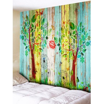 Wall Hanging Decoration Tree Wood Grain Print Tapestry