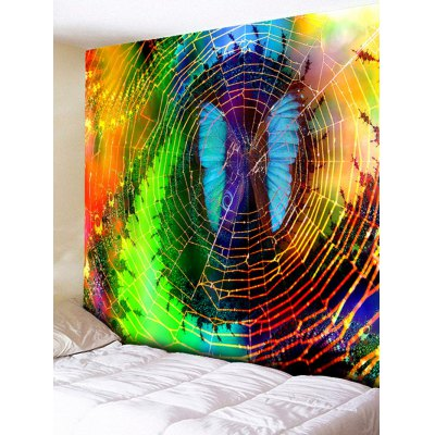 Wall Hanging Decoration Moth Cobweb Print Tapestry