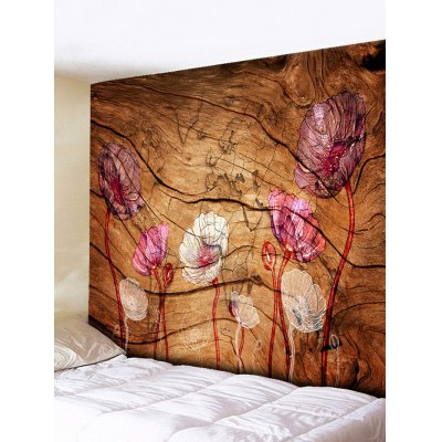 Vintage Flowers Wood Grain Print Tapestry
