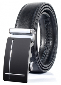 Polished Perpendicular Line Automatic Buckle Belt