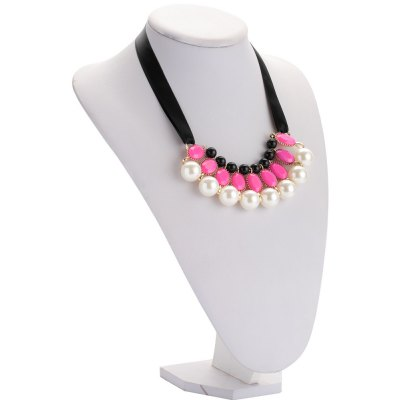 Faux Pearl Crystal Alloy Ribbon Necklace for Ladies