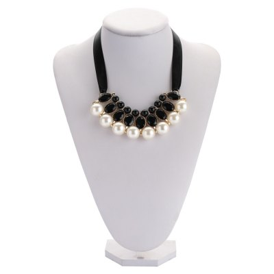Elegant Faux Pearl Crystal Alloy Ribbon Necklace for Ladies