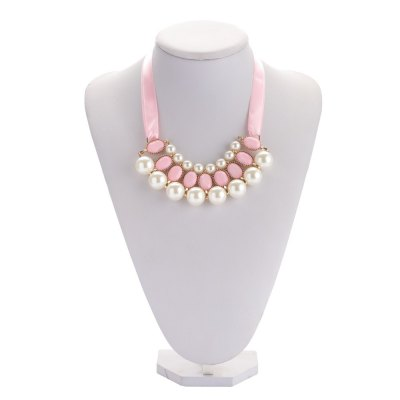 Elegant Faux Pearl Crystal Alloy Ribbon Necklace for LadiesNecklaces &amp; Pendants<br>Elegant Faux Pearl Crystal Alloy Ribbon Necklace for Ladies<br><br>Gender: For Women<br>Item Type: Pendant Necklaces<br>Metal Type: Others<br>Necklace Type: Rope Chain<br>Material: Pearl<br>Length of Chain: 34.6cm / 13.60inch<br>Style: Trendy<br>Shape/Pattern: Geometric<br>Size of Pendant: 14cm x 4.3cm x 2cm / 5.50inch x 1.69inch x 0.79inch<br>Width: 1.3cm / 0.51inch<br>Weight: 0.080KG<br>Package Contents: 1 x Necklace